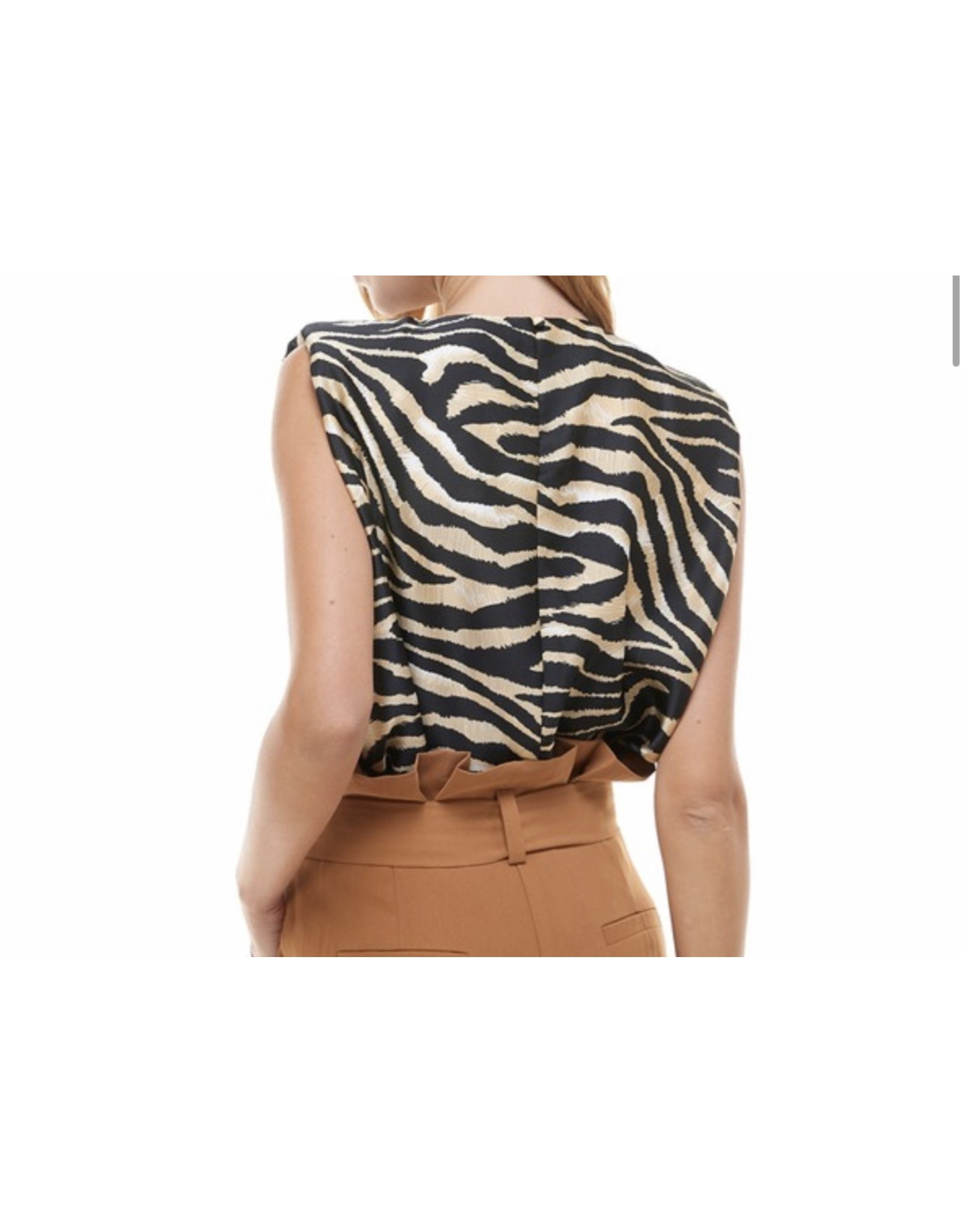 Zebra Shoulders Pads Top - Black