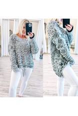 Leopard Tie Detail Hi/Low Sweater - Grey