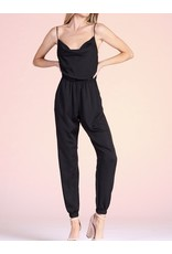 Cowl Neck Satin Jumpsuit - Black
