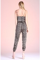 Leopard Cowl Neck Jumpsuit - Black