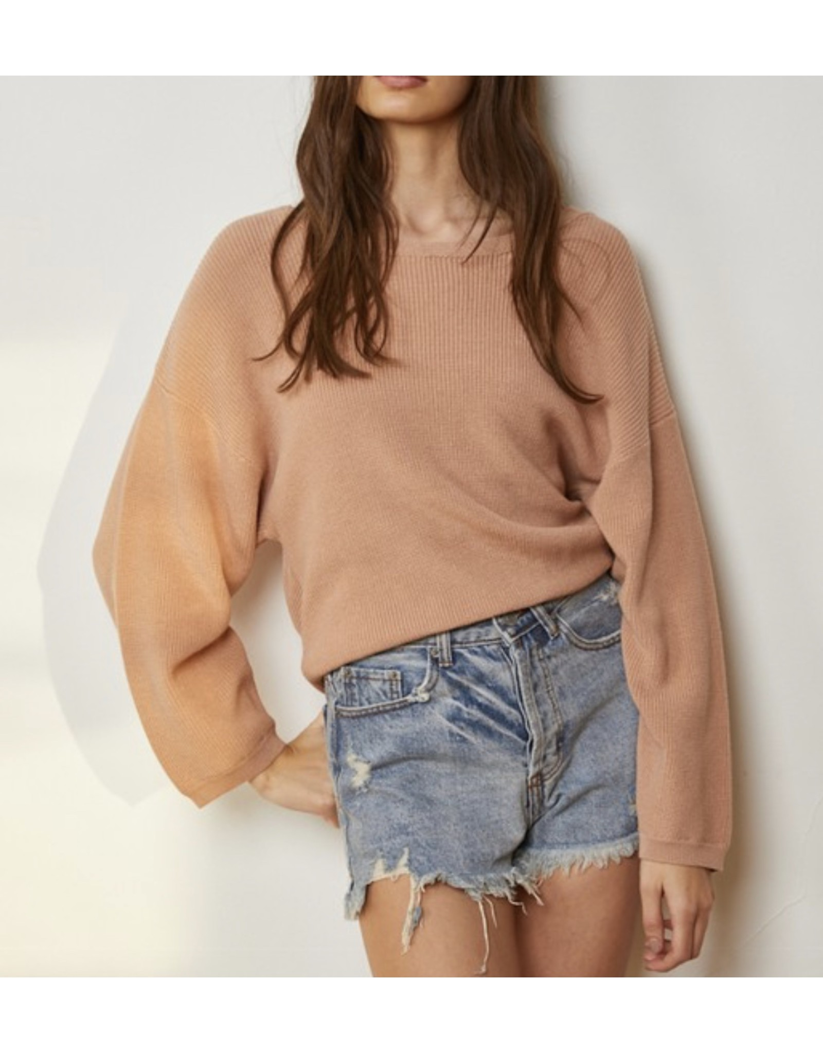 Twisted Open Back Sweater - Dusty Rose