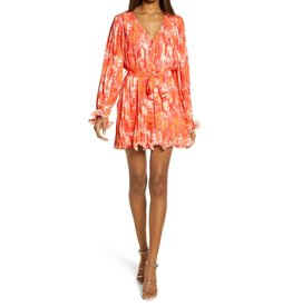 Endless Rose Pleated WaterColor Dress - Orange