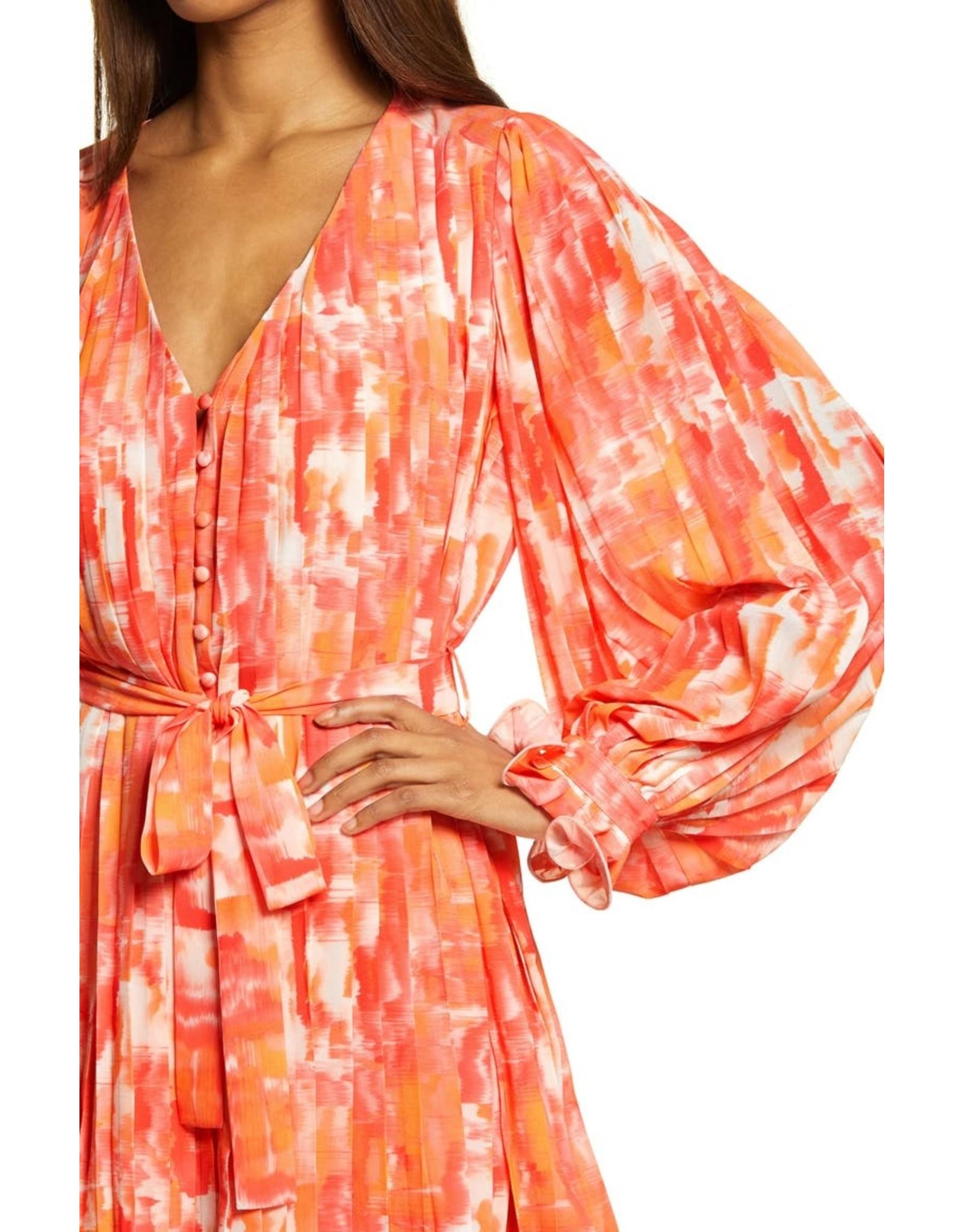 Endless Rose Pleated WaterColor Dress - Orange