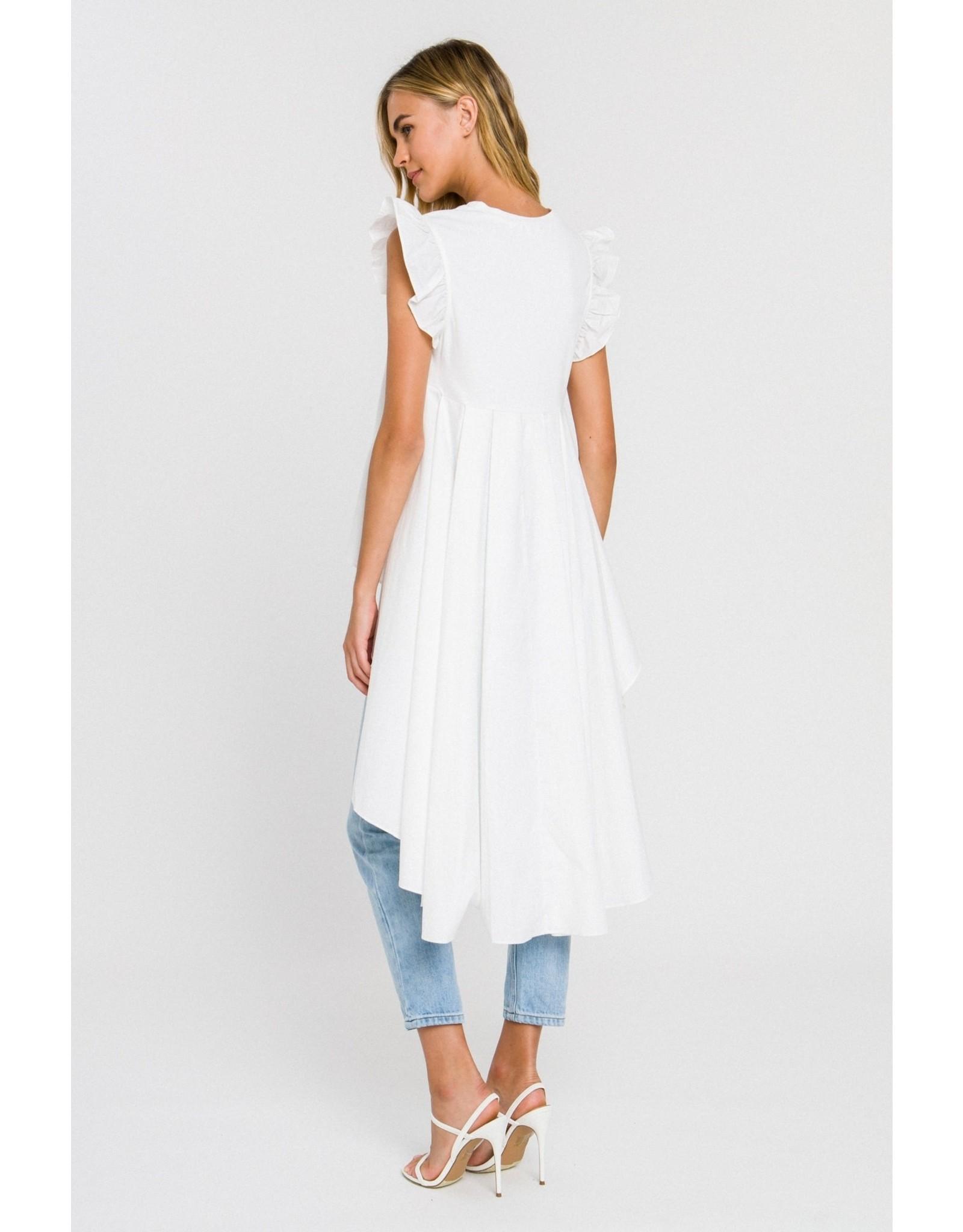 English Factory Hi Low Ruffle Sleeves Top - White