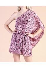 Snake Skin Slouchy One Shoulder Dress - Pink
