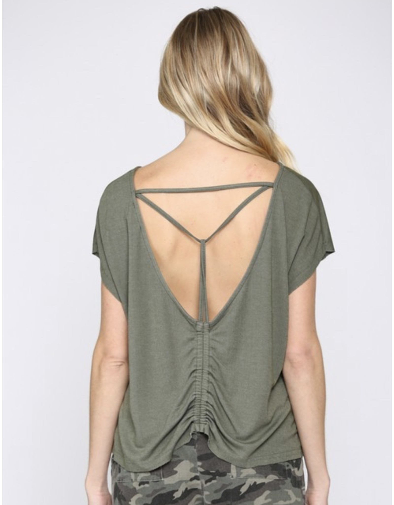Open Back Tee - Olive