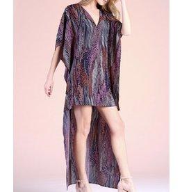 Beads Print Hi/Low Caftan Dress - Pink