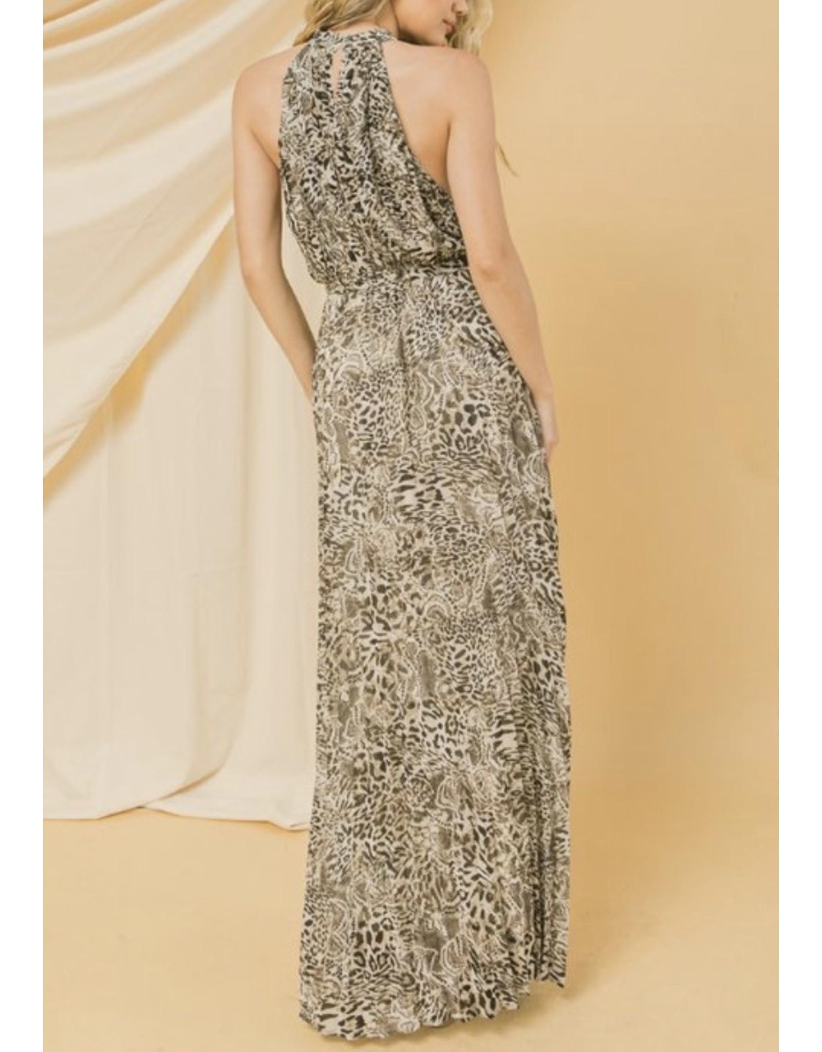 Snake Skin Pleated Maxi Dress - Taupe