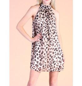 Leopard Chiffon Halter Dress - Taupe