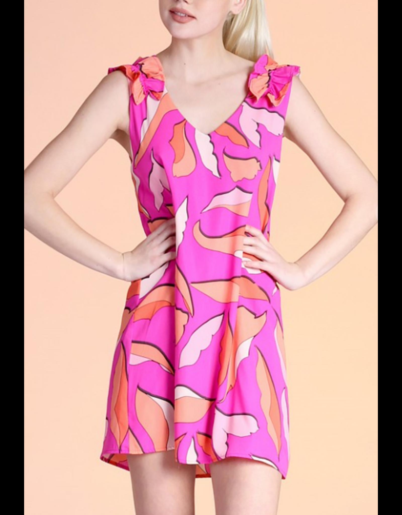 Ruffle Shoulder Tropical Dress - Pink
