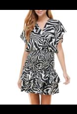Smocked Detail Zebra Print Dress - Black
