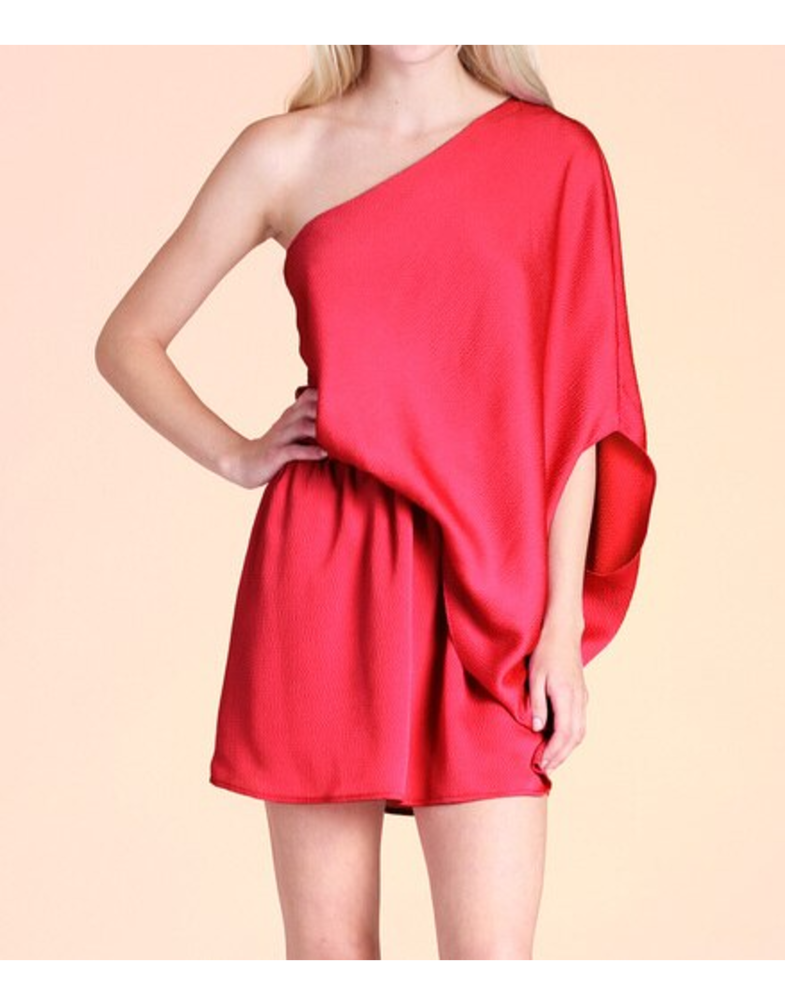 Hammered Stain Slouchy One Shoulder Dress - Red