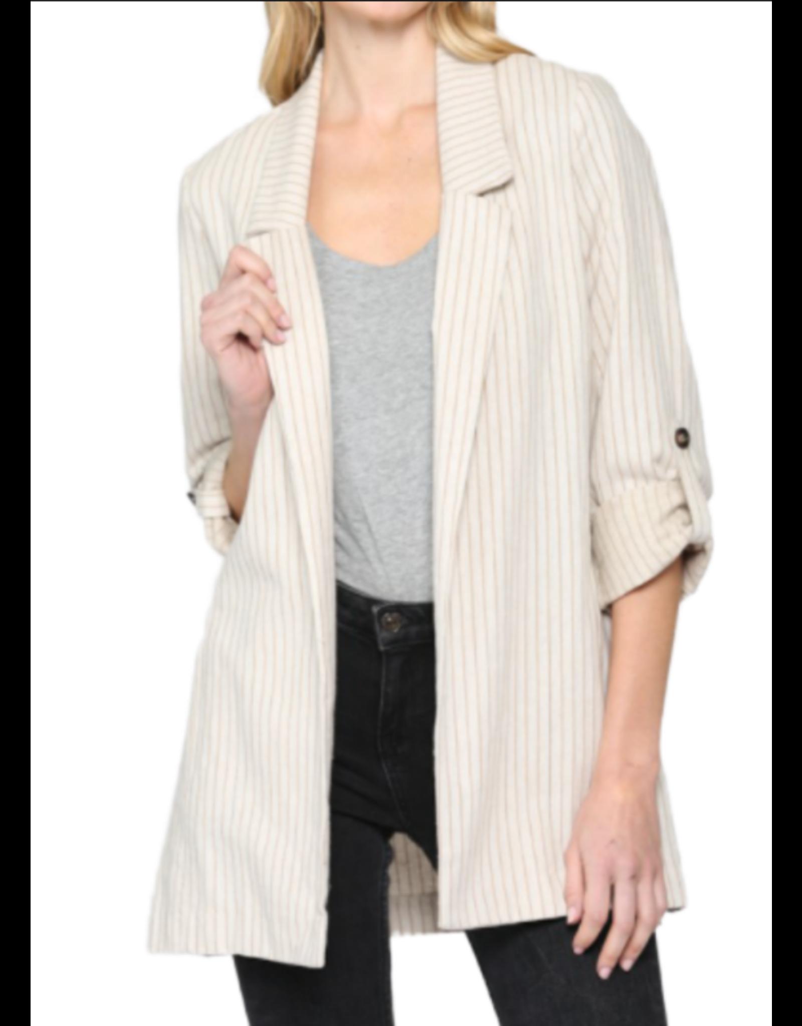 Pinstripe Linen Blazer - Natural