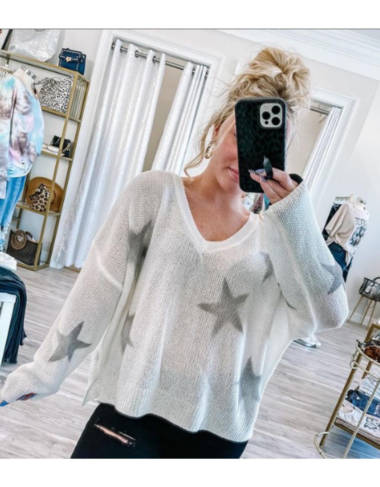 Lightweight Star Sweater - Ivory