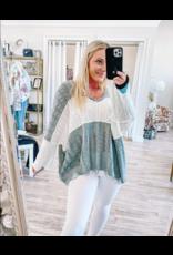 Lightweight Color Block Sweater - Grey