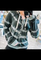 Leopard Trim Tie Dye Hoodie - Black