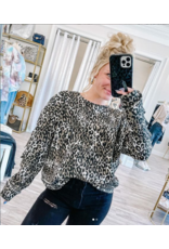 Ripped Elbows Leopard Sweatshirt - Black