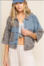 Leopard Detail Cropped Denim Jacket