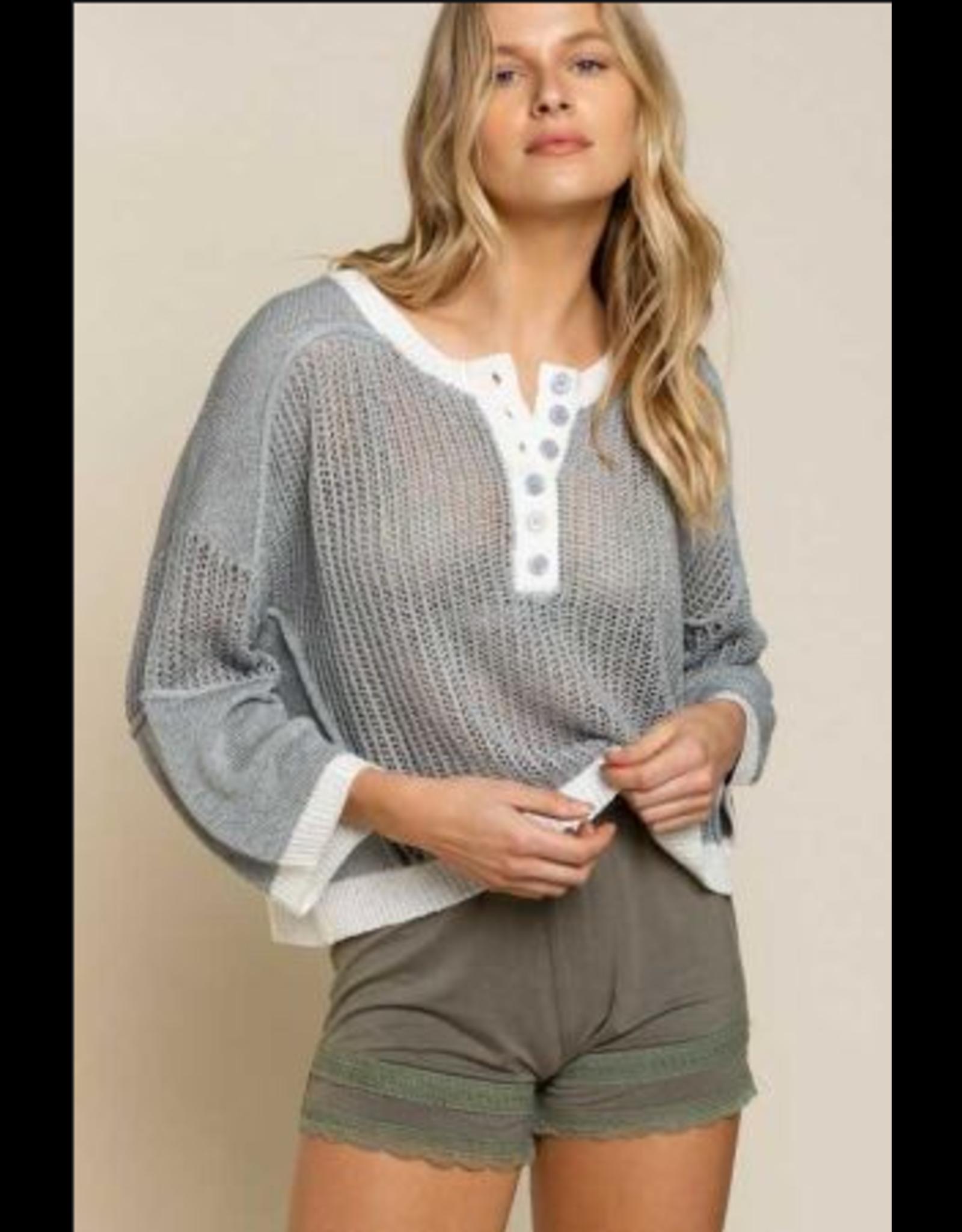 Button Detail Lightweight Sweater - Grey