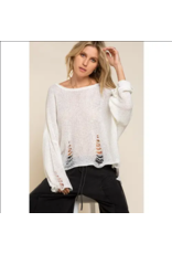 Lightweight Distressed Sweater - Ivory