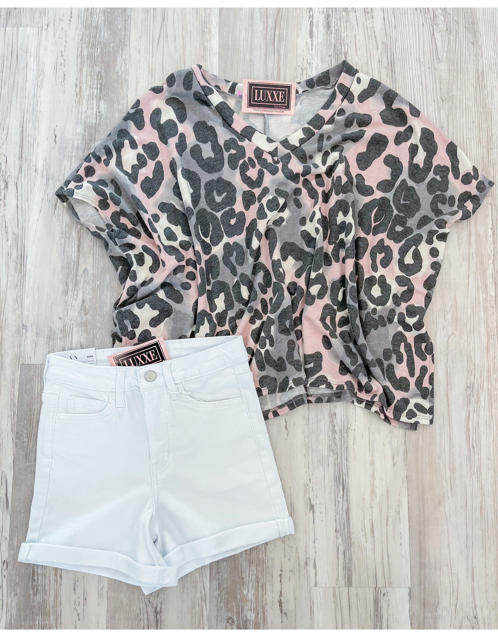 Oversized Leopard Top - Grey