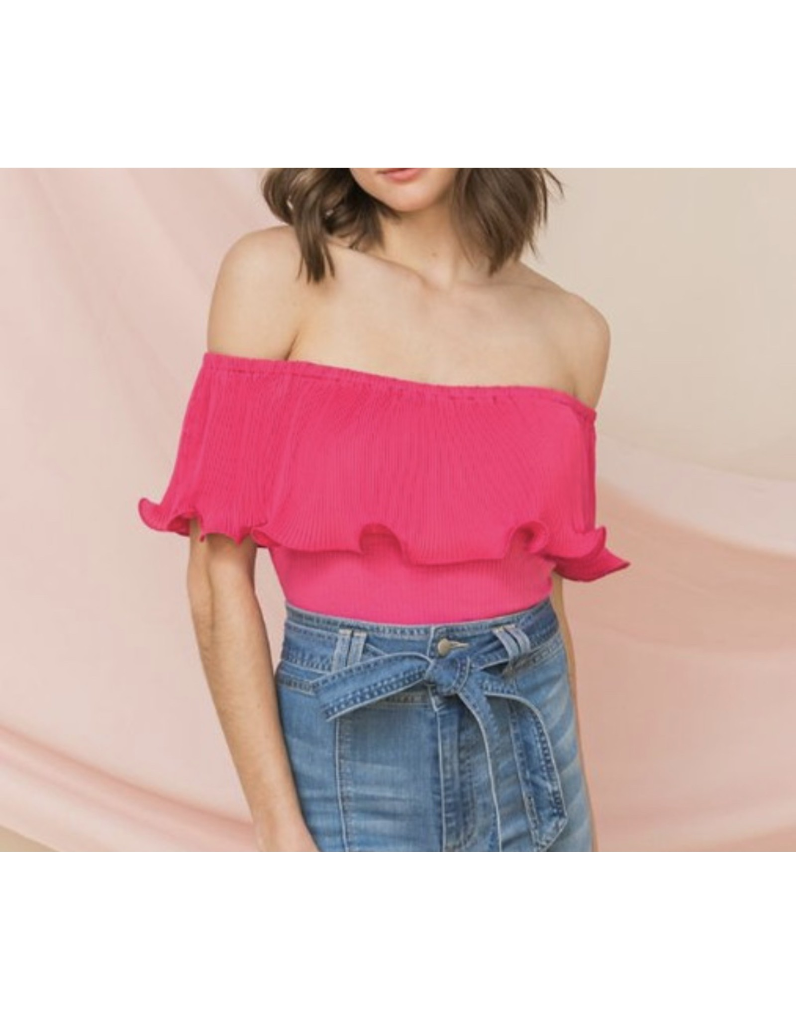 Pleated Off Shoulders Bodysuit - Pink