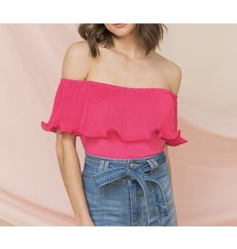 Pleated Off Shoulders Bodysuit - Pink