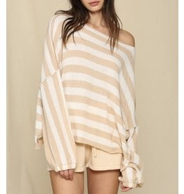 Striped Oversized Sweater - Taupe