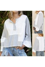Striped Color Block Top - Ivory