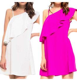 Ruffle Detail Open Shoulder Dress