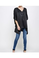 Satin  Oversized Satin Top - Black
