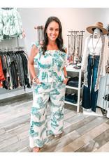 Palm Print Pants Set - Seafoam