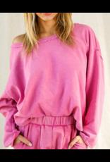 Beavely  Open Back Sweatshirt - Fuchsia