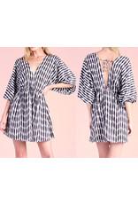Geo Stripe Kimono Dress - Black