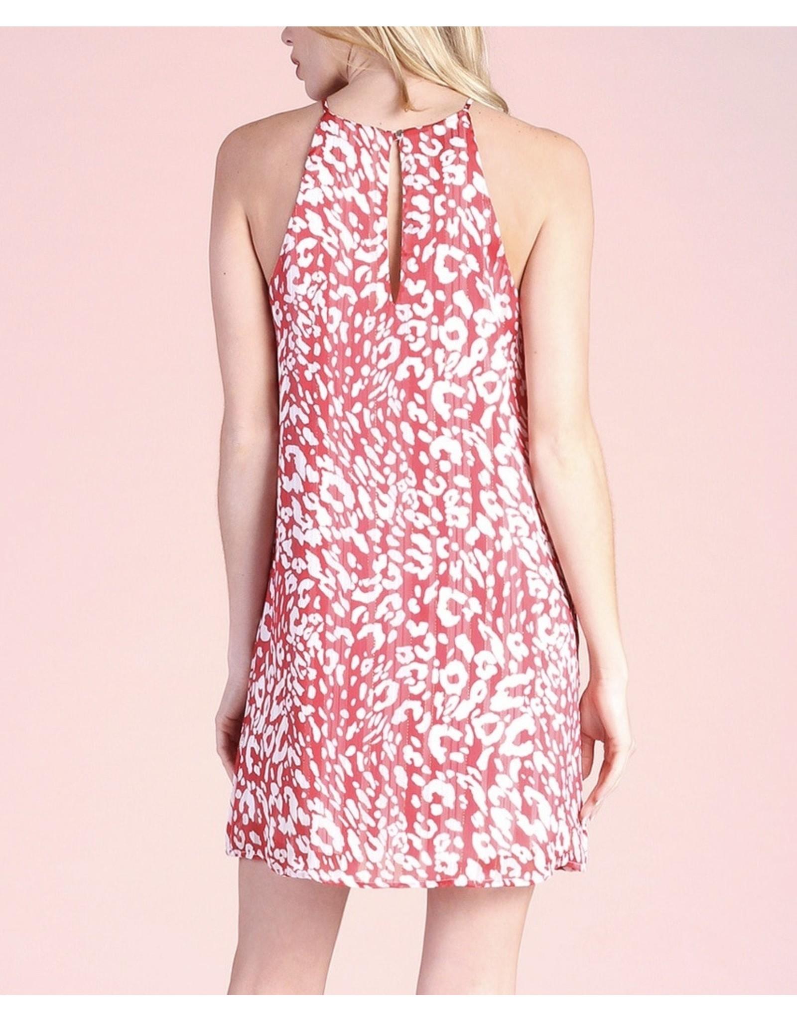 Leopard Lurex Chiffon Dress - Red