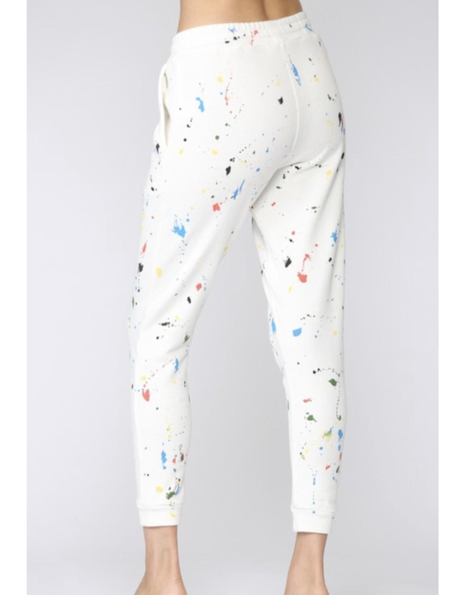 Paint Splatter Joggers - Cream