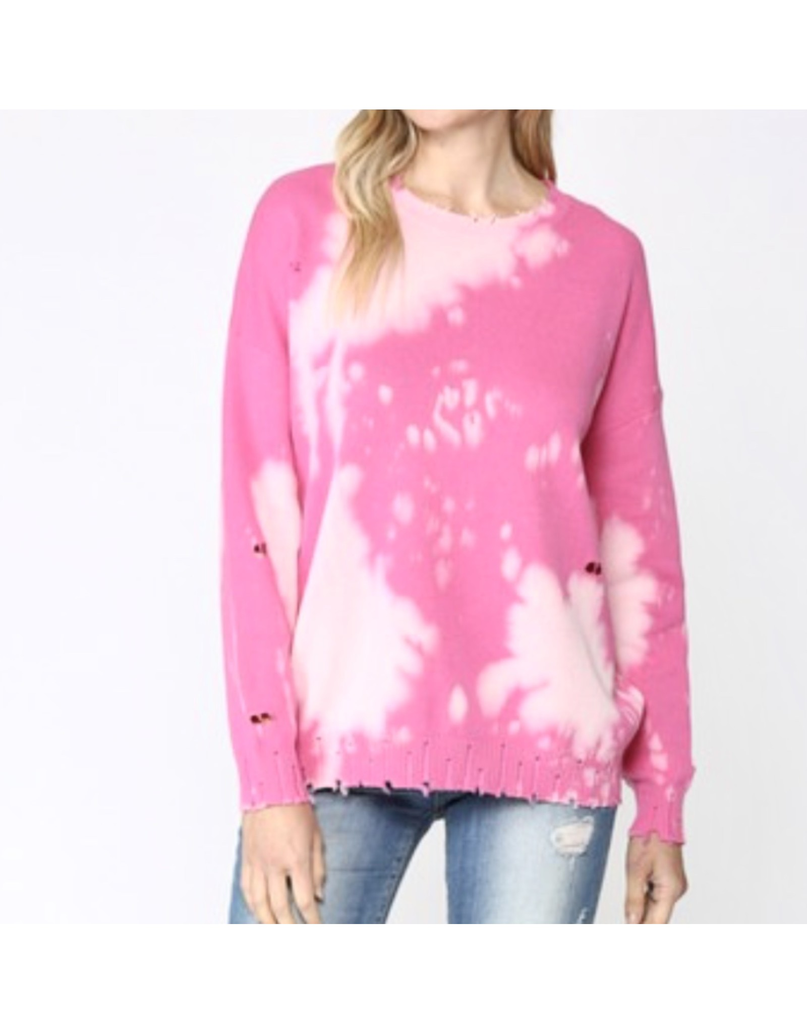 Tie Dye Distressed Sweater - Hot Pink