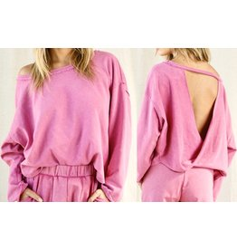 Beavely Open Back Sweatshirt - Fuchsia