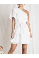 Beavely  One Shoulder Ruffle Dress - White