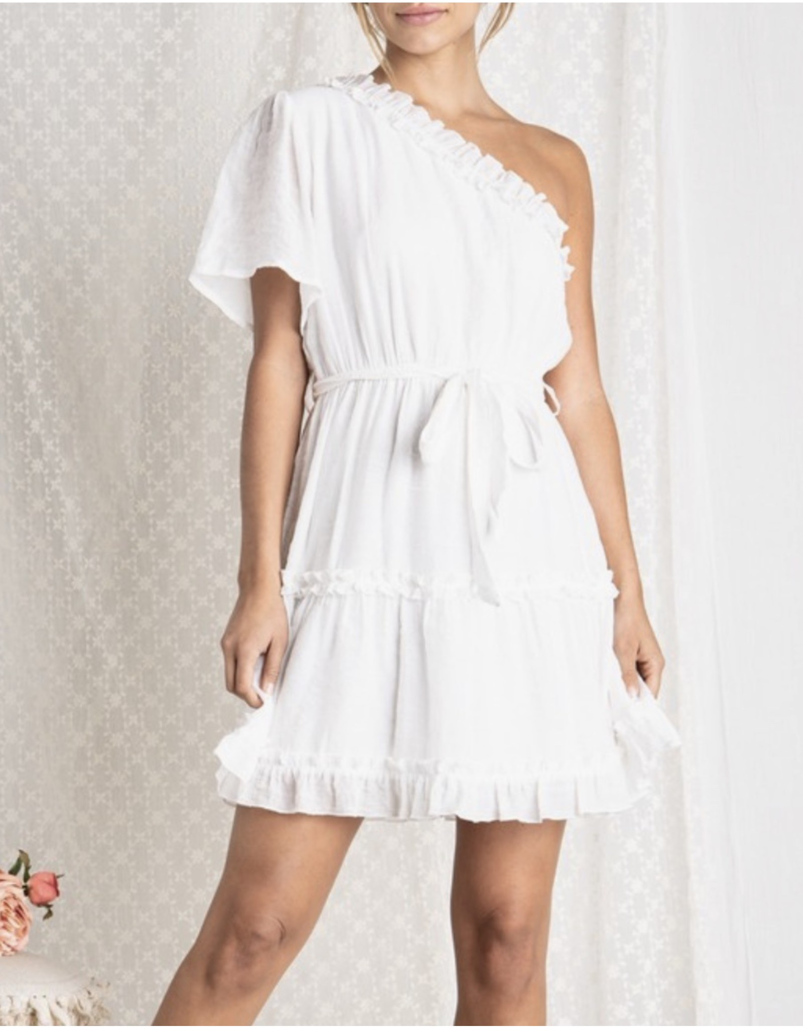 Beavely  One Shoulder Ruffle Dress - White