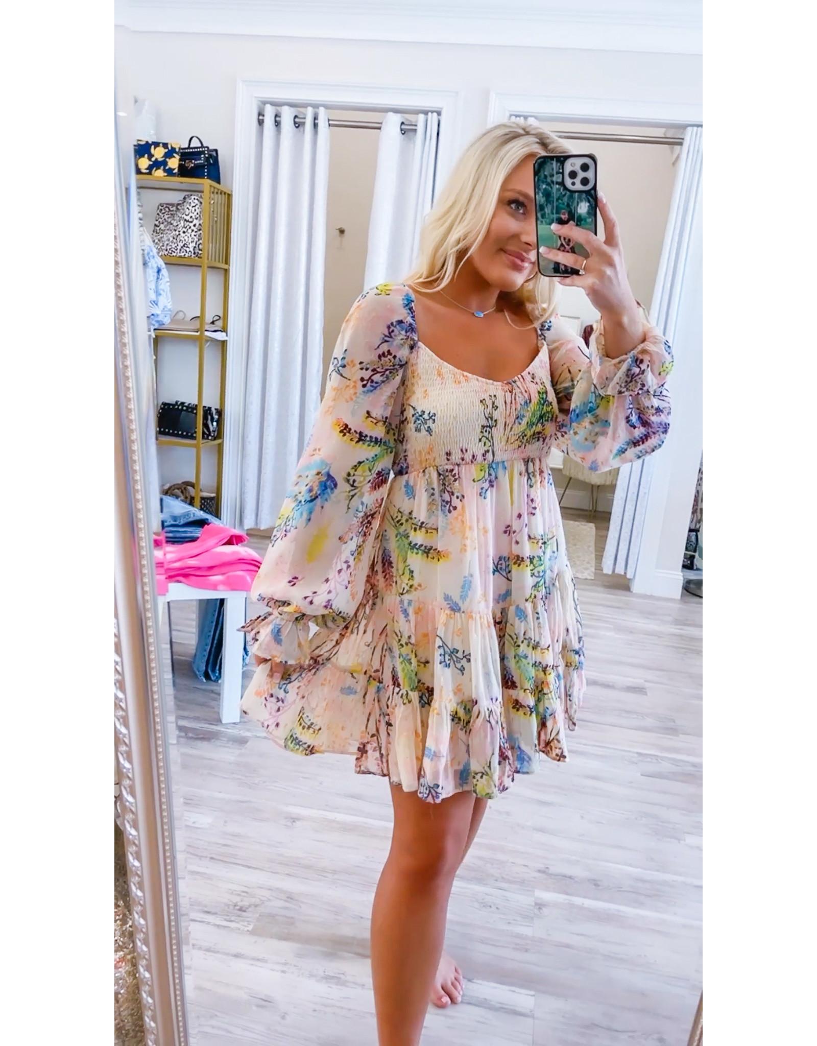 BTFL Smocked Detail Floral Dress