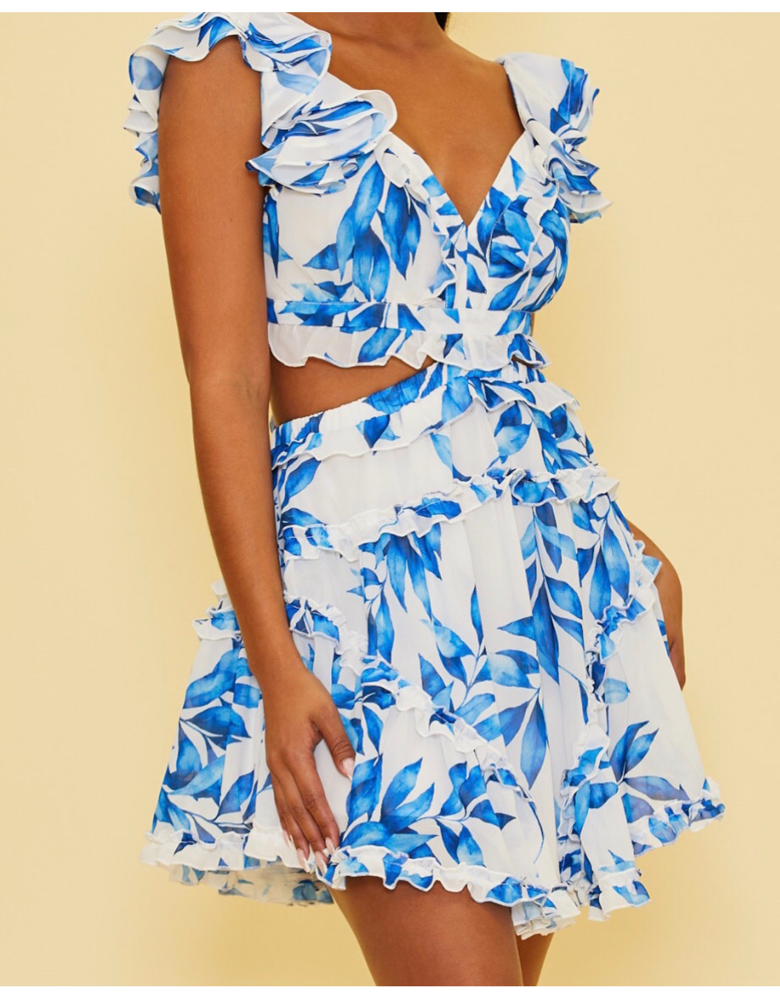 Leaves Lace Up Back Dress - Blue