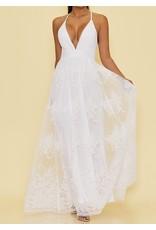 Floral Mesh Maxi Dress - White