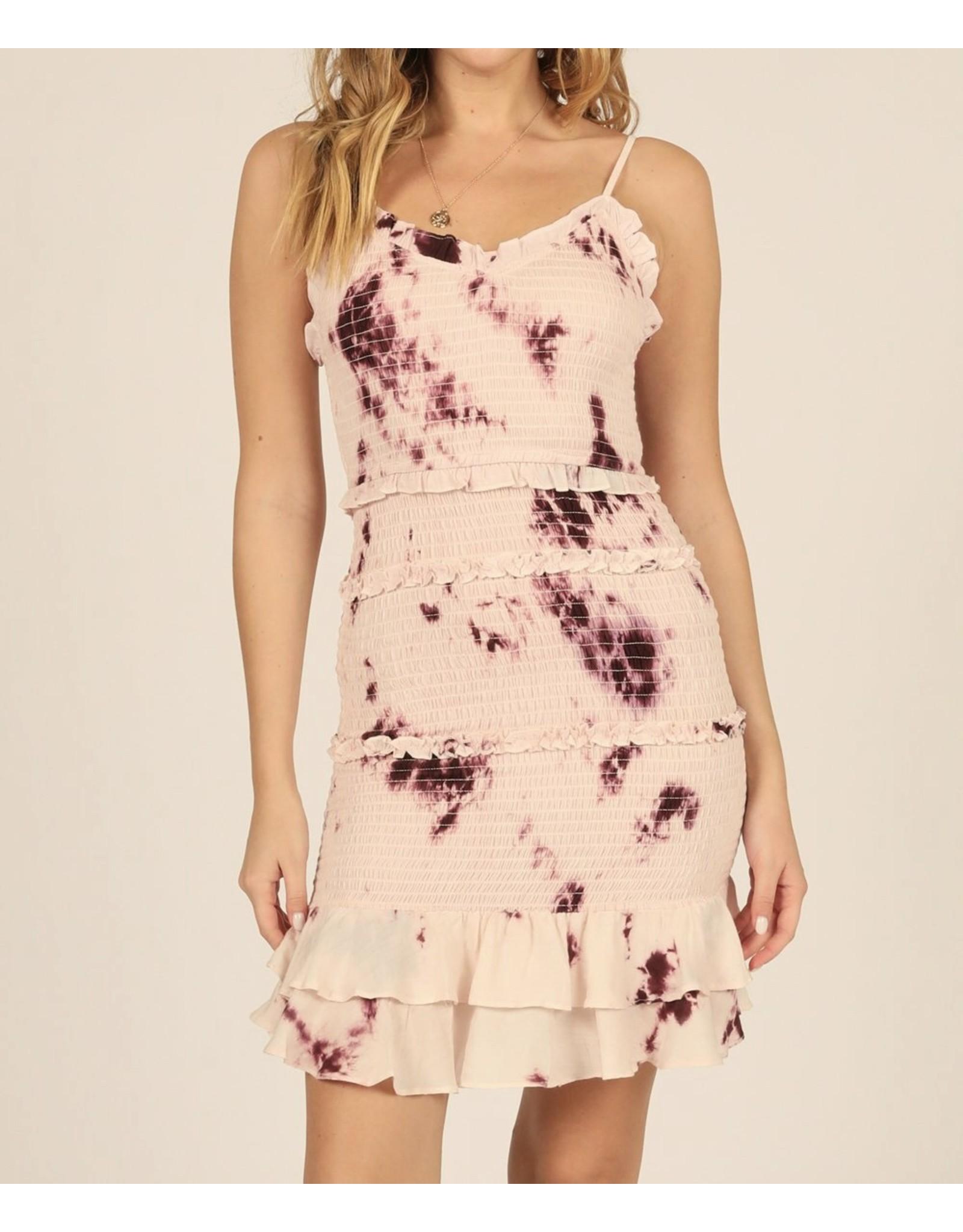 Tie Dye Smocked Dress - Burgundy