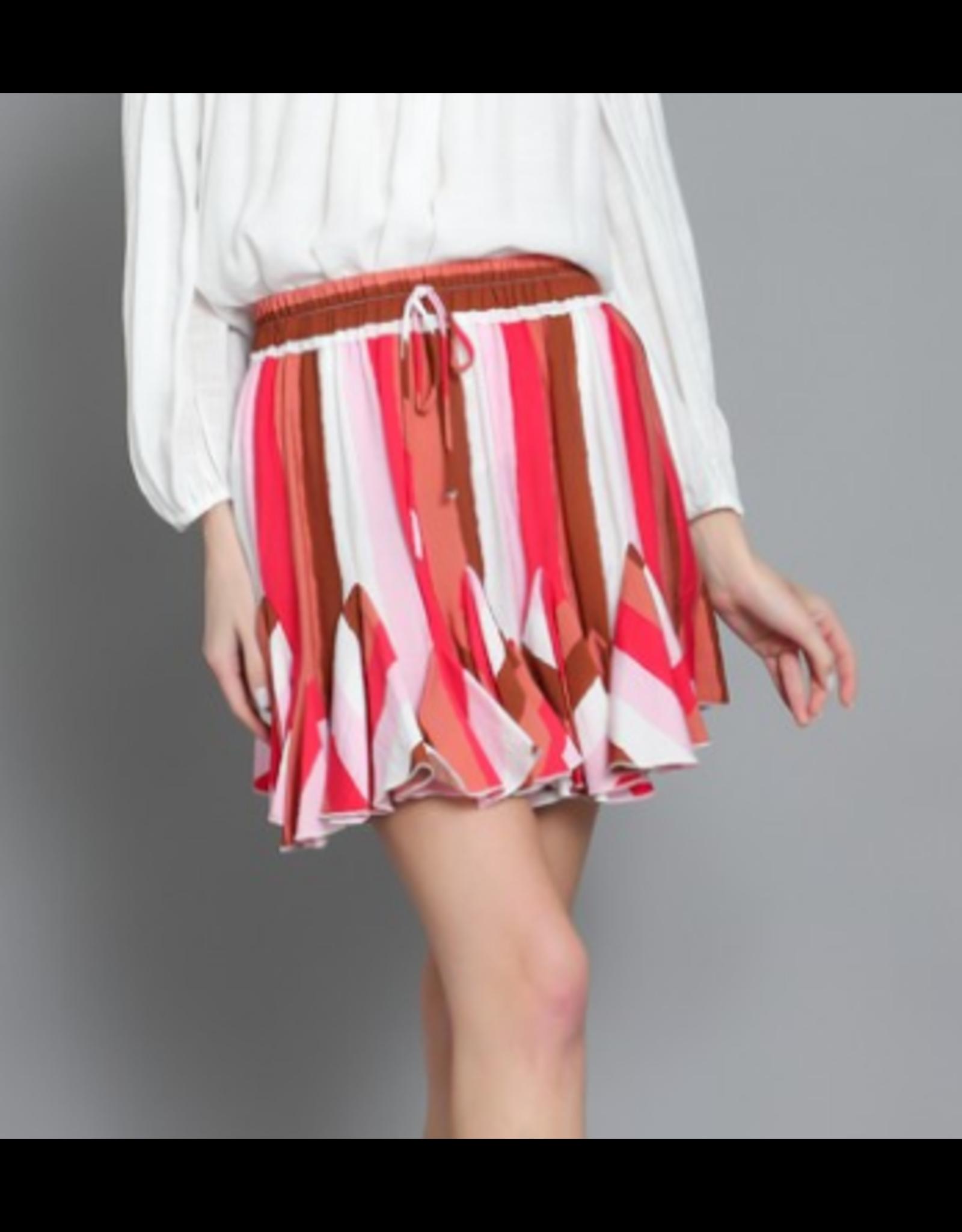 Striped Flowy Skirt - Pink
