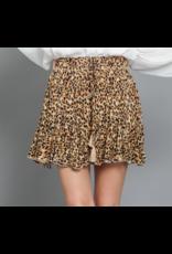 Ruffle Leopard Skirt - Tan