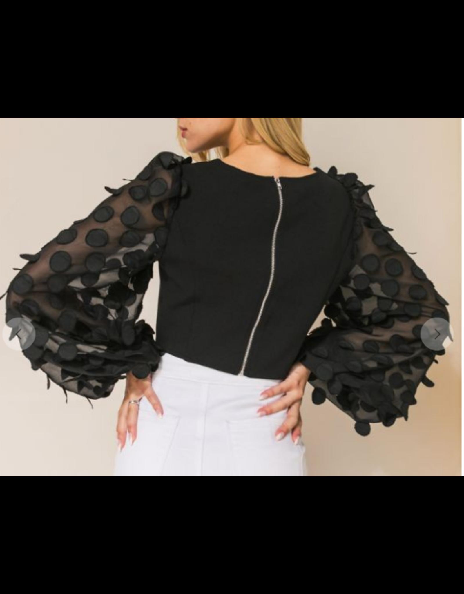 Organza Sleeves Top - Black