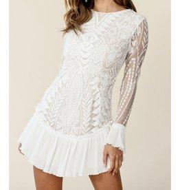 Beavely Ruffle Hem Lacey Dress - Ivory