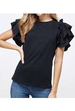 Flutter Sleeves Top - Black