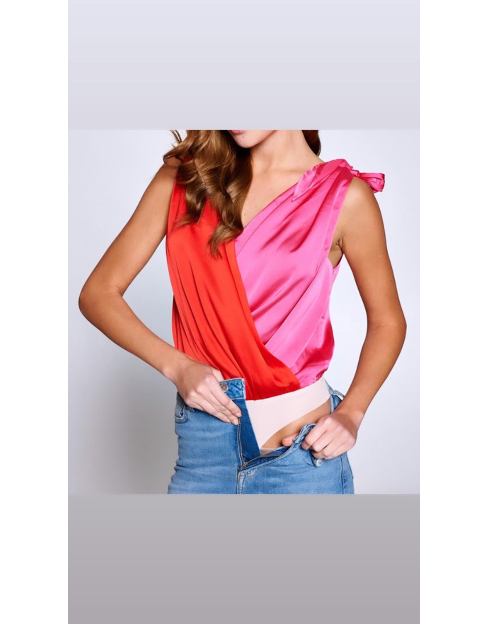 Color Block Tie Bodysuit - Red/Fuchsia